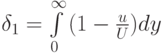 {\delta _1} = \int\limits_0^\infty  {(1 - \frac{u}{U})} dy