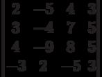 \begin{vmatrix}2 & -5 & 4 & 3\\3 & -4 & 7 & 5\\4 & -9 & 8 & 5\\-3 & 2 & -5 & 3\\\end{vmatrix}