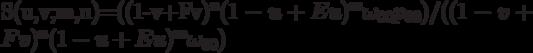 S(u,v;m,n)=((1-v+Fv)^n(1-u+Eu)^m \omega_{00} p_{00})/((1-v+Fv)^n(1-u+Eu)^m \omega_{00})
