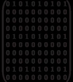 \begin{pmatrix} 0 & 1 & 0 & 1 & 0 & 1 & 0 & 1 & 0 & 1 \\  0 & 0 & 0 & 0 & 0 & 0 & 0 & 0 & 0 & 0 \\  0 & 0 & 0 & 0 & 0 & 0 & 0 & 0 & 0 & 0 \\  0 & 0 & 0 & 0 & 0 & 0 & 0 & 0 & 0 & 0 \\   0 & 1 & 0 & 1 & 0 & 1 & 0 & 1 & 0 & 1 \\   0 & 0 & 0 & 0 & 0 & 0 & 0 & 0 & 0 & 0 \\  0 & 0 & 0 & 0 & 0 & 0 & 0 & 0 & 0 & 0 \\  0 & 0 & 0 & 0 & 0 & 0 & 0 & 0 & 0 & 0 \\ 0 & 1 & 0 & 1 & 0 & 1 & 0 & 1 & 0 & 1 \\   0 & 0 & 0 & 0 & 0 & 0 & 0 & 0 & 0 & 0 \\ \end{pmatrix}