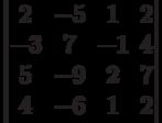 \begin{vmatrix}2 & -5 & 1 & 2\\-3 & 7 & -1 & 4\\5 & -9 & 2 & 7\\4 & -6 & 1 & 2\\\end{vmatrix}