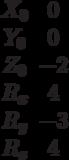 \begin{matrix}X_0 &0\\Y_0 &0\\Z_0 &-2\\R_x &4\\R_y &-3\\R_z &4\end{matrix}