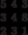 \begin{matrix}5&4&3\\3&4&8\\2&3&1\end{matrix}