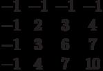 $$\begin{matrix}-1&-1&-1&-1\\-1&2&3&4\\-1&3&6&7\\-1&4&7&10\end{matrix}$$