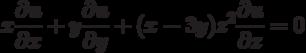 x\frac{\partial u}{\partial x}+y\frac{\partial u}{\partial y}+ (x-3y)z^2\frac{\partial u}{\partial z}=0