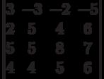 \begin{vmatrix}3 & -3 & -2 & -5\\2 & 5 & 4 & 6\\5 & 5 & 8 & 7\\4 & 4 & 5 & 6\\\end{vmatrix}