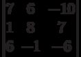\begin{vmatrix}        7 & 6 & -10 \\        1 & 8 & 7 \\        6 & -1 & -6        \end{vmatrix}