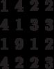 \begin{matrix}1&4&2&2\\4&1&3&3\\1&9& 1&2\\4&2&2&3\end{matrix}