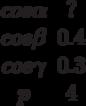 \begin {matrix}cos \alpha &?\\cos \beta &0.4\\cos \gamma &0.3\\p &4\end{matrix}