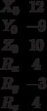 \begin{matrix}X_0 &12\\Y_0 &-9\\Z_0 &10\\R_x &4\\R_y &-3\\R_z &4\end{matrix}