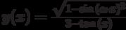 y(x)=\frac{\sqrt{1-\sin{(\alpha \cdot  x)^2}}}{3-\tan{(x)}}