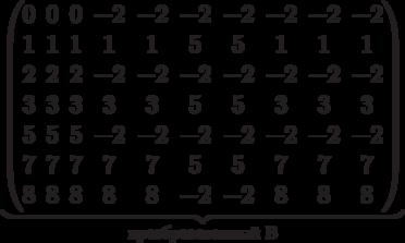\underbrace{\begin{pmatrix} 0 & 0 & 0 & -2 & -2 & -2 & -2 & -2 & -2 & -2 \\ 1 & 1 & 1 & 1 & 1 & 5 & 5 & 1 & 1 & 1 \\  2 & 2 & 2 & -2 & -2 & -2 & -2 & -2 & -2 & -2 \\ 3 & 3 & 3 & 3 & 3 & 5 & 5 & 3 & 3 & 3 \\   5 & 5 & 5 & -2 & -2 & -2 & -2 & -2 & -2 & -2 \\ 7 & 7 & 7 & 7 & 7 & 5 & 5 & 7 & 7 & 7 \\  8 & 8 & 8 & 8 & 8 & -2 & -2 & 8 & 8 & 8 \\  \end{pmatrix}}_\text{преобразованный B}