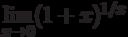 \lim\limits_{x\to 0}(1+x)^{1/x}