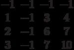 $$\begin{matrix}-1&-1&-1&-1\\1&-1&3&4\\2&-1&6&7\\3&-1&7&10\end{matrix}$$