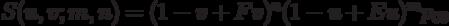 S(u,v;m,n)=(1-v+Fv)^n(1-u+Eu)^mp_{00}