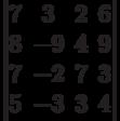 \begin{vmatrix}7 & 3 & 2 & 6\\8 & -9 & 4 & 9\\7 & -2 & 7 & 3\\5 & -3 & 3 & 4\\\end{vmatrix}