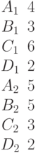 \begin{matrix}A_1 &4\\B_1 &3\\C_1 &6\\D_1 &2\\A_2 &5\\B_2 &5\\C_2 &3\\D_2 &2\end{matrix}
