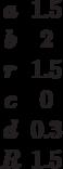 \begin {matrix}a&1.5\\b&2\\r&1.5\\c&0\\d&0.3\\R&1.5\end{matrix}