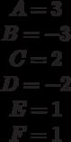 \begin{matrix}A= 3\\B= -3\\C= 2\\D= -2\\E= 1\\F=1\end{matrix}