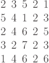 \begin{matrix}2&3&5&2&1\\5&4&1&2&3\\2&4&6&2&5\\3&2&7&2&3\\1&4&6&2&6\end{matrix}