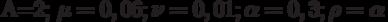 A=2; \mu=0,06; \nu=0,01; \alpha=0,3; \rho=\alpha