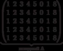 \underbrace{\begin{pmatrix} 1 & 2 & 3 & 4 & 5 & 0 & 1 & 8 \\ 1 & 2 & 3 & 4 & 5 & 0 & 1 & 8 \\ 1 & 2 & 3 & 4 & 5 & 0 & 1 & 8 \\ 1 & 2 & 3 & 4 & 5 & 0 & 1 & 8 \\ 1 & 2 & 3 & 4 & 5 & 0 & 1 & 8 \\  \end{pmatrix}}_\text{исходный A}
