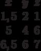 \begin{matrix}x&y&z\\1,5&2&1\\5&4&6\\6,5&6&7\end{matrix}