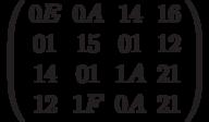 \left( \begin{array}{cccc} 0E & 0A & 14 & 16 \\ 01 & 15 & 01 & 12 \\14 & 01 & 1A & 21 \\ 12 & 1F & 0A & 21 \end{array} \right)