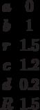 \begin {matrix}a&0\\b&1\\r&1.5\\c&1.2\\d&0.2\\R&1.5\end{matrix}