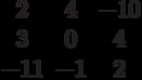 $$\begin{matrix}2&4&-10\\3&0&4\\-11&-1&2\end{matrix}$$