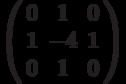 \left( {\begin{array}{*{20}c}   0 & 1 & 0  \\   1 & { - 4} & 1  \\   0 & 1 & 0  \\\end{array}} \right)