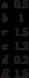 \begin {matrix}a&0.5\\b&1\\r&1.5\\c&1.2\\d&0.2\\R&1.5\end{matrix}