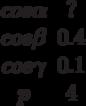 \begin {matrix}cos \alpha &?\\cos \beta &0.4\\cos \gamma &0.1\\p &4\end{matrix}