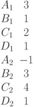\begin{matrix}A_1 &3\\B_1 &1\\C_1 &2\\D_1 &1\\A_2 &-1\\B_2 &3\\C_2 &4\\D_2 &1\end{matrix}