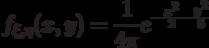 f_{\xi,\eta}(x,y)=\frac 1{4\pi}e^{-\frac{x^2}2-\frac{y^2}8}