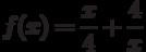 $f(x)=\dfrac{x}{4}+\dfrac{4}{x}$