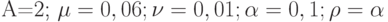 A=2; \mu=0,06; \nu=0,01; \alpha=0,1; \rho=\alpha