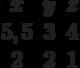 \begin{matrix}x&y&z\\5,5&3&4\\2&2&1\end{matrix}