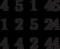 \begin{matrix}4 &5 &1 &46\\1 &2 &5 &24\\4 &4 &2 &44\end{matrix}