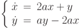 \left\{\begin{array}{ccl}  \dot{x} &=&2ax+y \\  \dot{y} &=&ay-2ax\end{array}\right.