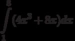 \int\limits^{8}_{1}(4x^3+8x)dx