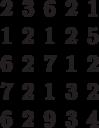 \begin{matrix}2&3&6&2&1\\1&2&1&2&5\\6&2& 7&1&2\\7&2&1&3&2\\6&2&9&3&4\end{matrix}