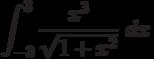 \int ^{3}_{-3}\frac{x^3}{\sqrt{1+x^2}}\ dx
