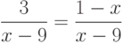 \frac{3}{{x - 9}} = \frac{{1 - x}}{{x - 9}}