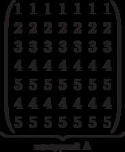 \underbrace{\begin{pmatrix} 1 & 1 & 1 & 1 & 1 & 1 & 1 \\ 2 & 2 & 2 & 2 & 2 & 2 & 2 \\  3 & 3 & 3 & 3 & 3 & 3 & 3 \\ 4 & 4 & 4 & 4 & 4 & 4 & 4 \\   5 & 5 & 5 & 5 & 5 & 5 & 5 \\   4 & 4 & 4 & 4 & 4 & 4 & 4 \\   5 & 5 & 5 & 5 & 5 & 5 & 5 \\   \end{pmatrix}}_\text{исходный A}