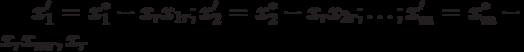 x'_1 = x^*_1 - x_r x_{1r}; x'_2 = x^*_2 - x_r x_{2r}; \ldots ; x'_m = x^*_m - x_r x_{mr}, x_r