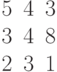 \begin{matrix}5&4&3\\3&4&8\\2& 3&1\end{matrix}