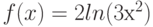 f(x)=2 ln(3х^2)