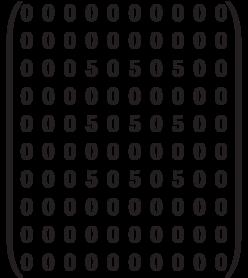 \begin{pmatrix} 0 & 0 & 0 & 0 & 0 & 0 & 0 & 0 & 0 & 0 \\ 0 & 0 & 0 & 0 & 0 & 0 & 0 & 0 & 0 & 0 \\ 0 & 0 & 0 & 5 & 0 & 5 & 0 & 5 & 0 & 0 \\ 0 & 0 & 0 & 0 & 0 & 0 & 0 & 0 & 0 & 0 \\ 0 & 0 & 0 & 5 & 0 & 5 & 0 & 5 & 0 & 0 \\ 0 & 0 & 0 & 0 & 0 & 0 & 0 & 0 & 0 & 0 \\ 0 & 0 & 0 & 5 & 0 & 5 & 0 & 5 & 0 & 0 \\ 0 & 0 & 0 & 0 & 0 & 0 & 0 & 0 & 0 & 0 \\ 0 & 0 & 0 & 0 & 0 & 0 & 0 & 0 & 0 & 0 \\ 0 & 0 & 0 & 0 & 0 & 0 & 0 & 0 & 0 & 0 \\  \end{pmatrix}