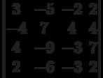 \begin{vmatrix}3 & -5 & -2 & 2\\-4 & 7 & 4 & 4\\4 & -9 & -3 & 7\\2 & -6 & -3 & 2\\\end{vmatrix}